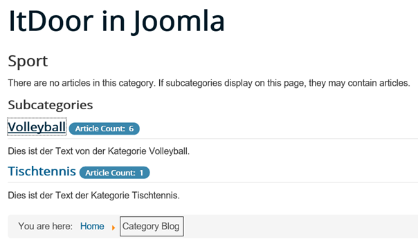 Joomla Website Aufruf Category Blog