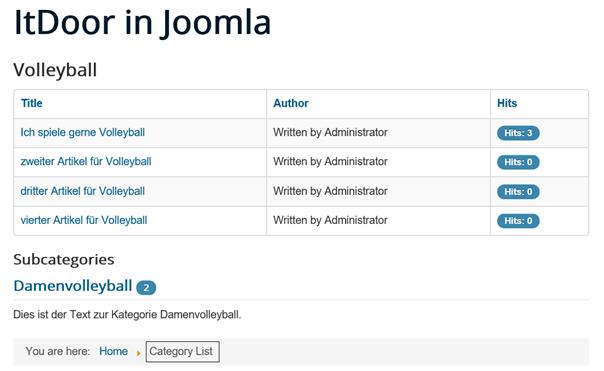 Joomla Website nach Klick auf Unterkategorie im Category Blog
