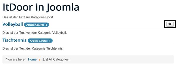 Joomla List All Categories mit den globalen Standardeinstellungen