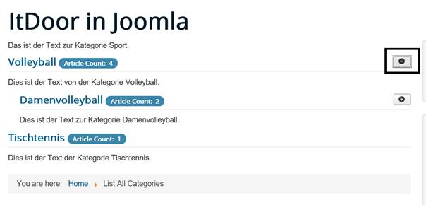 Joomla List All Categories nach dem Klick auf den Plusbutton