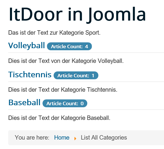 Joomla List All Categories mit Kategorie ohne Artikel