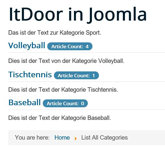 Joomla List All Categories mit Kategorie ohne Artikel