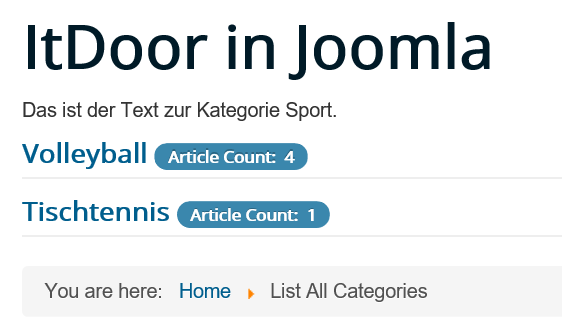 Joomla Website List All Categories ohne den Text der Unterkategorien