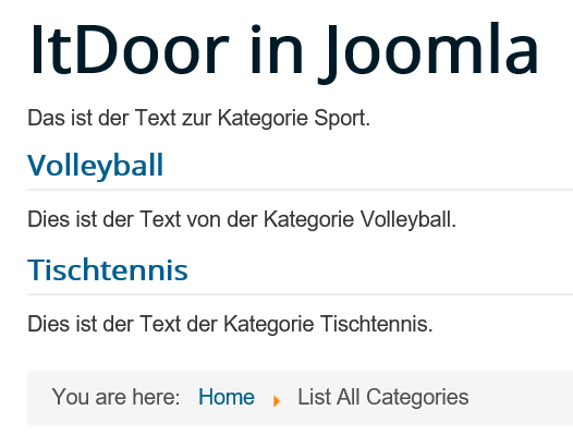 Joomla List All Categories ohne die Anzahl der Artikel pro Kategorie