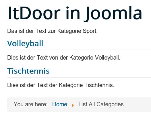 Joomla List All Categories ohne die Anzahl der Artikel pro Kategorie