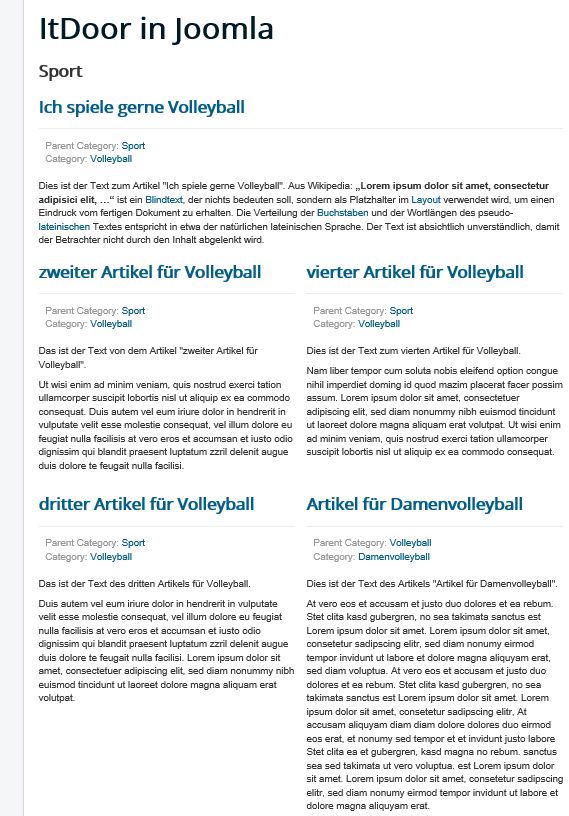 Joomla Category Blog mit Include Subcategories All oberer Teil