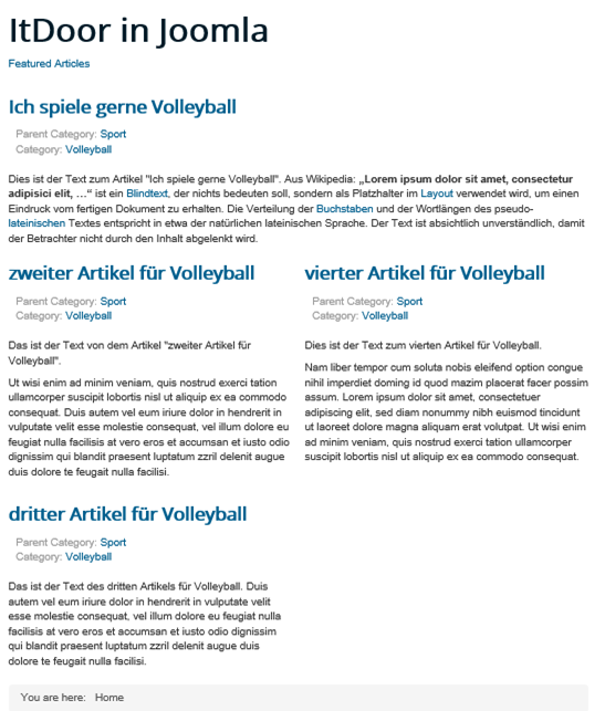 Joomla Website Alle Featured Articles haben die gleiche Kategorie