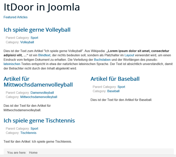 Joomla Website Featured Articles haben verschiedene Kategorien