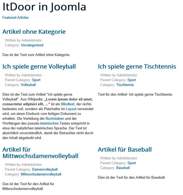 Joomla Website Featured Articles mit einem unkategorisierten Beitrag