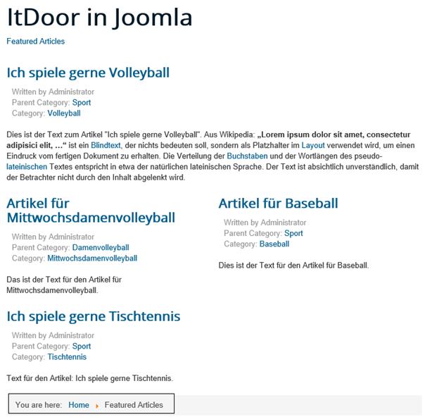 Featured Articles sind nicht auf der Startseite der Joomla Website