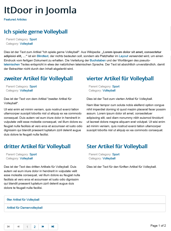 Joomla Website Die globalen Einstellungsmöglichkeiten für Featured Articles im Standard