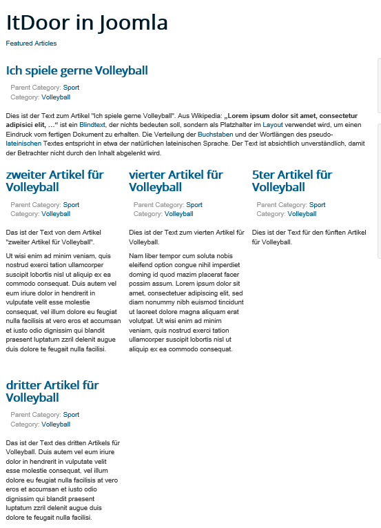 Joomla Featured Article mit 3 Spalten unter Leading Article
