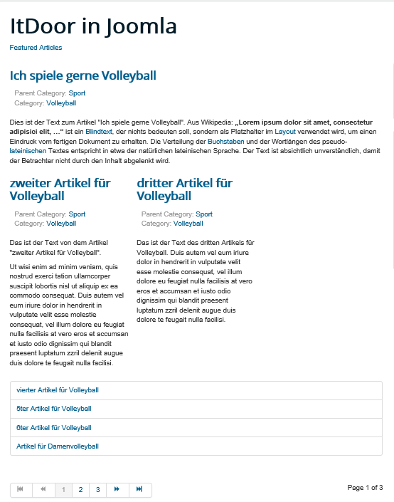 Joomla Featured Articles # Intro Articles ist 2