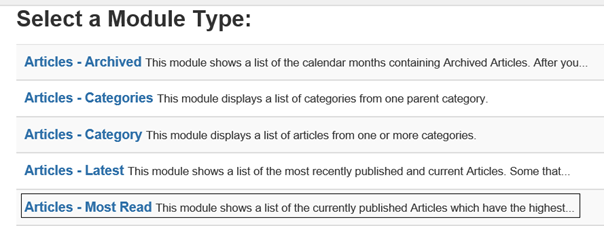 Joomla Liste Module Types mit Module Type Articles - Most Read