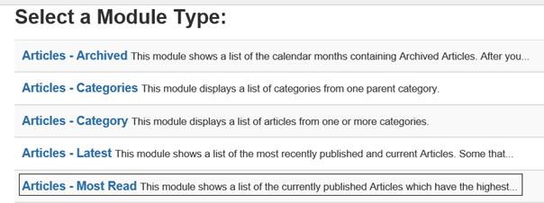 Joomla Liste Module Types mit Module Type Articles - Most Read