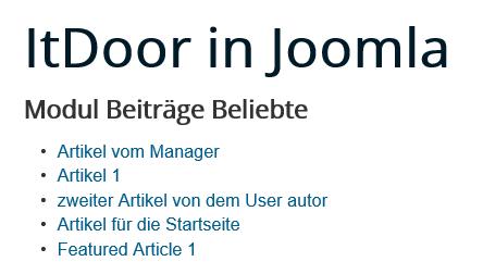 Joomla Website Module Articles Most Read Standardeinstellungen