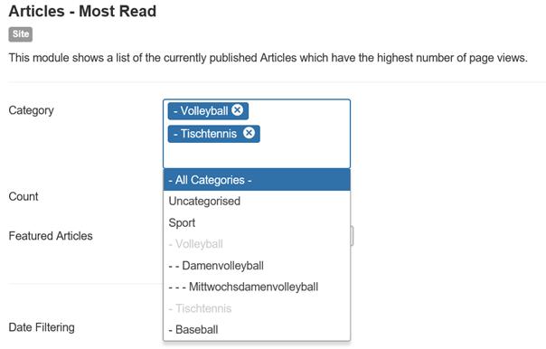Joomla Module Articles Most Read Category