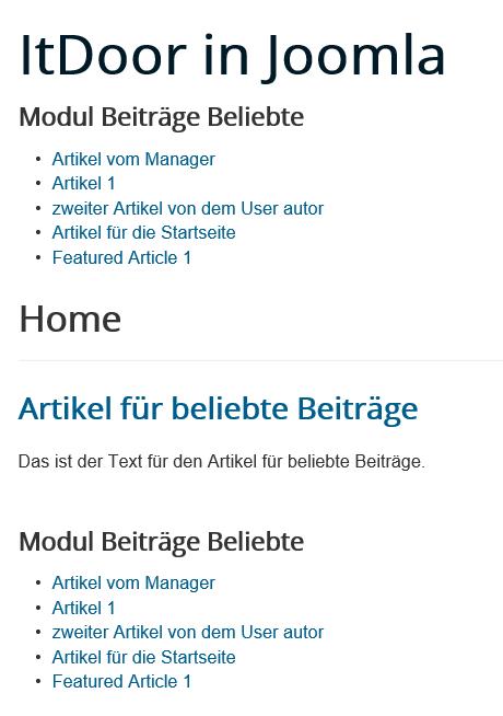 Joomla Modul beliebte Beiträge direkt und einmal im Artikel auf der Joomla Website