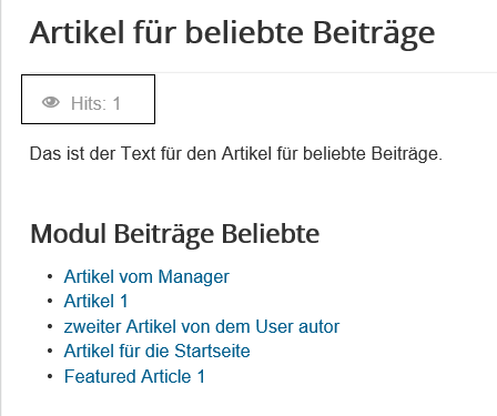 Joomla Website Anzahl Hits für den Artikel mit dem Modul Articles Most Read