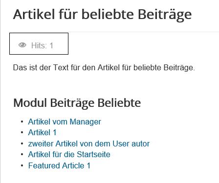 Joomla Website Anzahl Hits für den Artikel mit dem Modul Articles Most Read