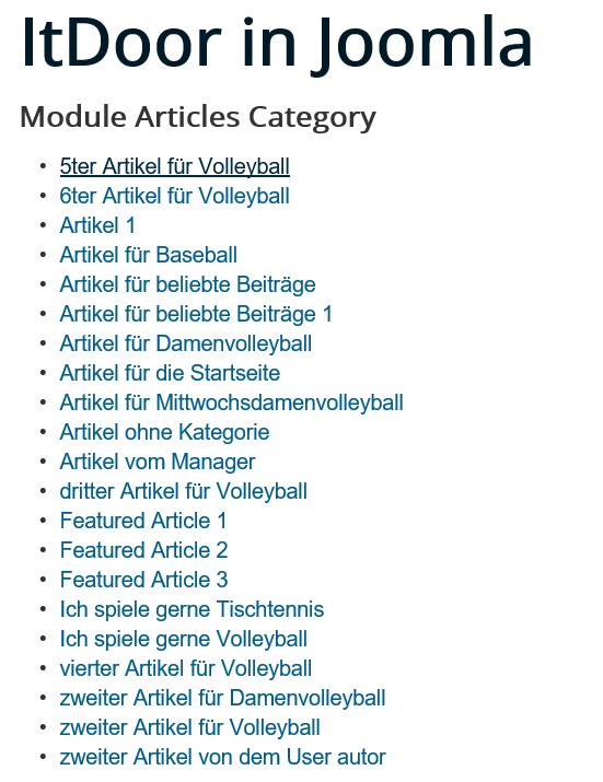 Joomla Website Joomla Modul Beiträge Kategorie Standardeinstellungen