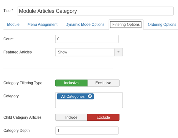 Joomla Module Type Articles-Category Registerkarte Filtering Options Teilsicht
