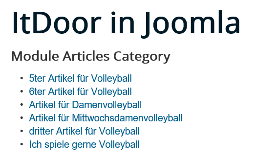 Joomla Website Module Articles Category Count ist 6