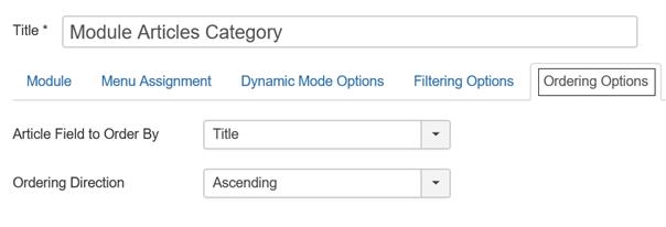 Joomla Module Articles Category Registerkarte Ordering Options