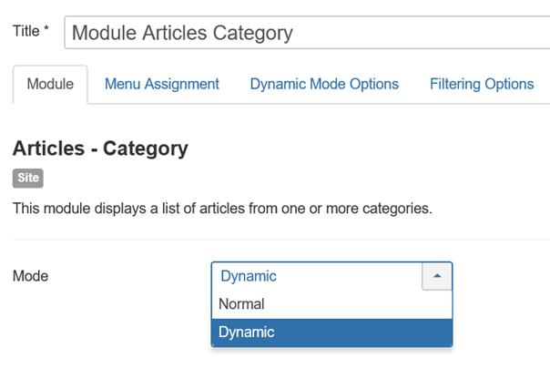 Joomla Module Articles Category Feld Mode Wert Dynamic
