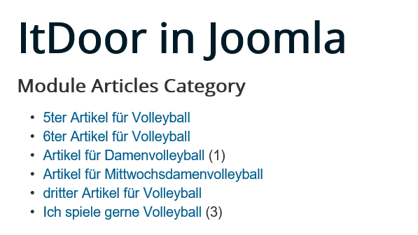 Joomla Website Module Articles Category mit Anzahl Hits
