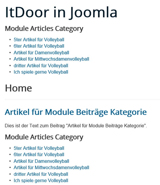 Joomla Website Article mit integriertem Modul Articles Category