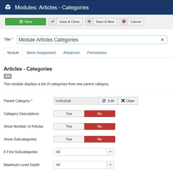 Joomla Modul Beiträge Kategorien linke Seite der Maske