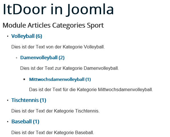 Joomla Website Module Articles Categories # First Subcategories ist All