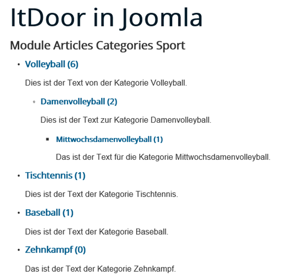 Joomla Website Module Articles Categories Reihenfolge Subcategories Category ID