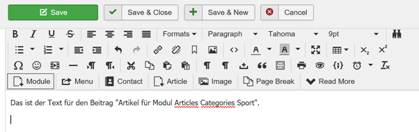 Joomla Article Module Articles Categories Sport integrieren