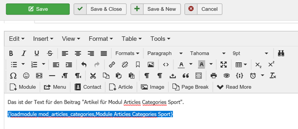 Joomla Article mit integriertem Modul Articles Categories Sport