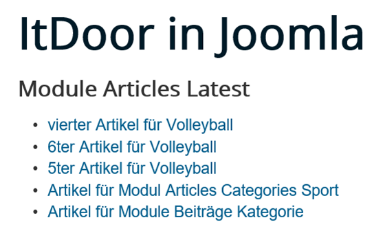 Joomla Website Module Articles Latest Recently Touched First
