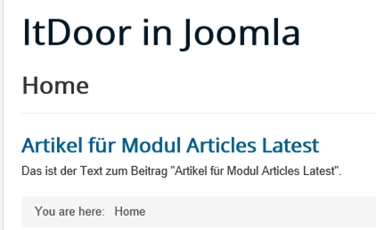 Joomla Website Article mit integriertem Modul Articles Latest