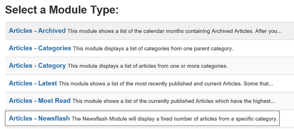 Joomla Liste Module Types mit Module Type Articles - Newsflash