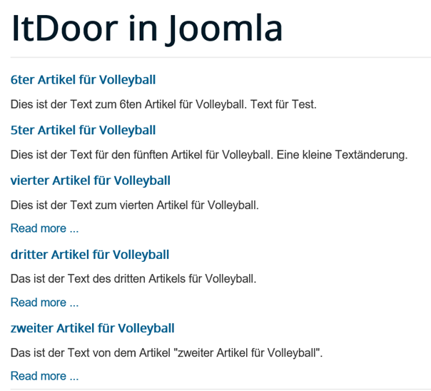 Joomla Website Module Articles Newsflash mit Show Article Title und Linked Titles