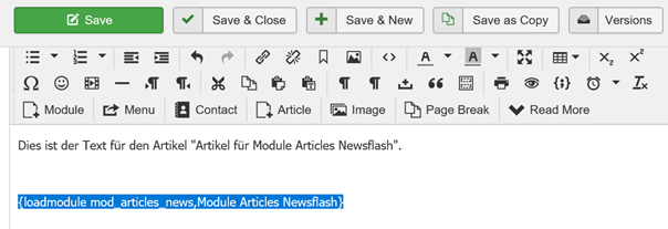 Joomla Article mit integriertem Modul Articles Newsflash