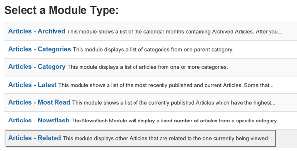 Joomla Liste Module Types mit Module Type Articles - Related