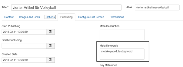 Joomla Article Registerkarte Options Feld Meta Keywords