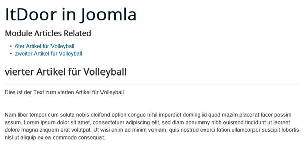Joomla Website mit 2 verwandten Artikeln eines Artikels