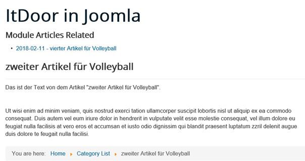 Joomla Website mit Show Date bei verwandtem Artikel