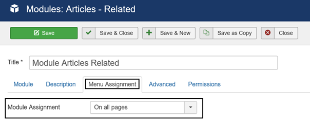 Joomla Module Articles Related Module Assignment On all pages