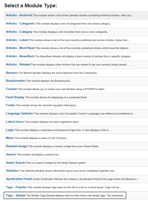 Joomla Liste Module Types mit Module Type Tags - Similar