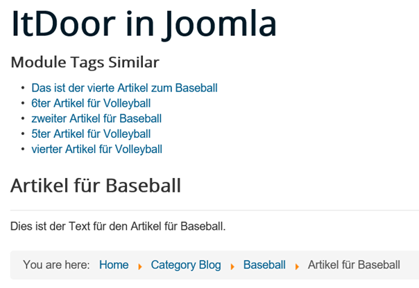 Joomla Website Module Tags Similar Standardeinstellungen