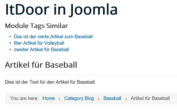 Joomla Website Module Tags Similar Match Type ist Half