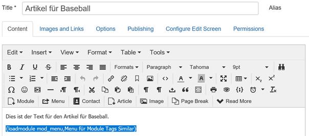 Joomla Article mit integriertem Modul Tags Similar